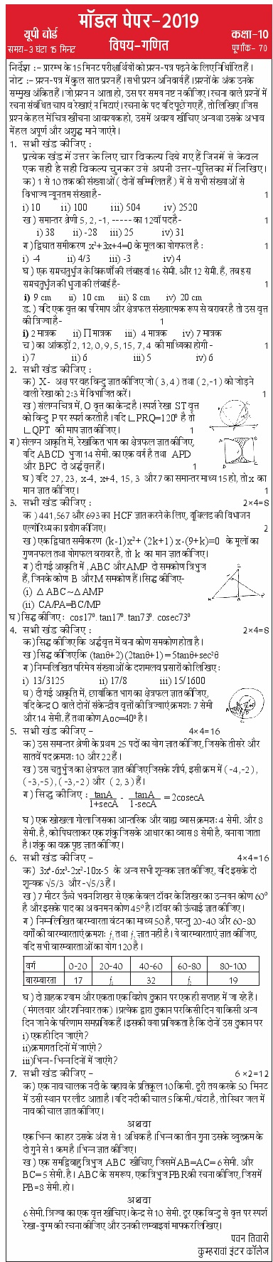 UP Board Model Paper 2020 Class 10th 12th Practice Papers