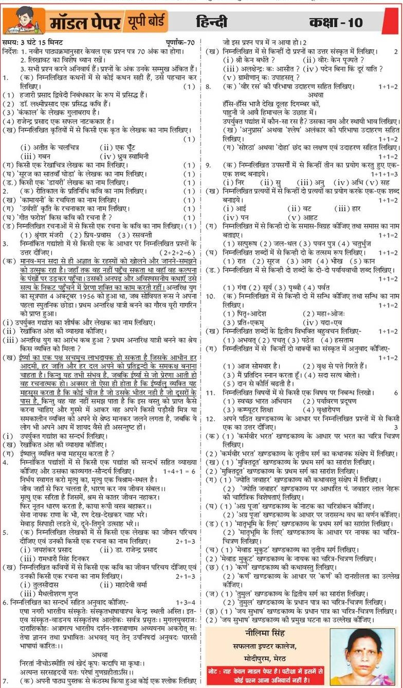 UP Board Model Paper 2020 Class 10th 12th Practice Papers -Subject