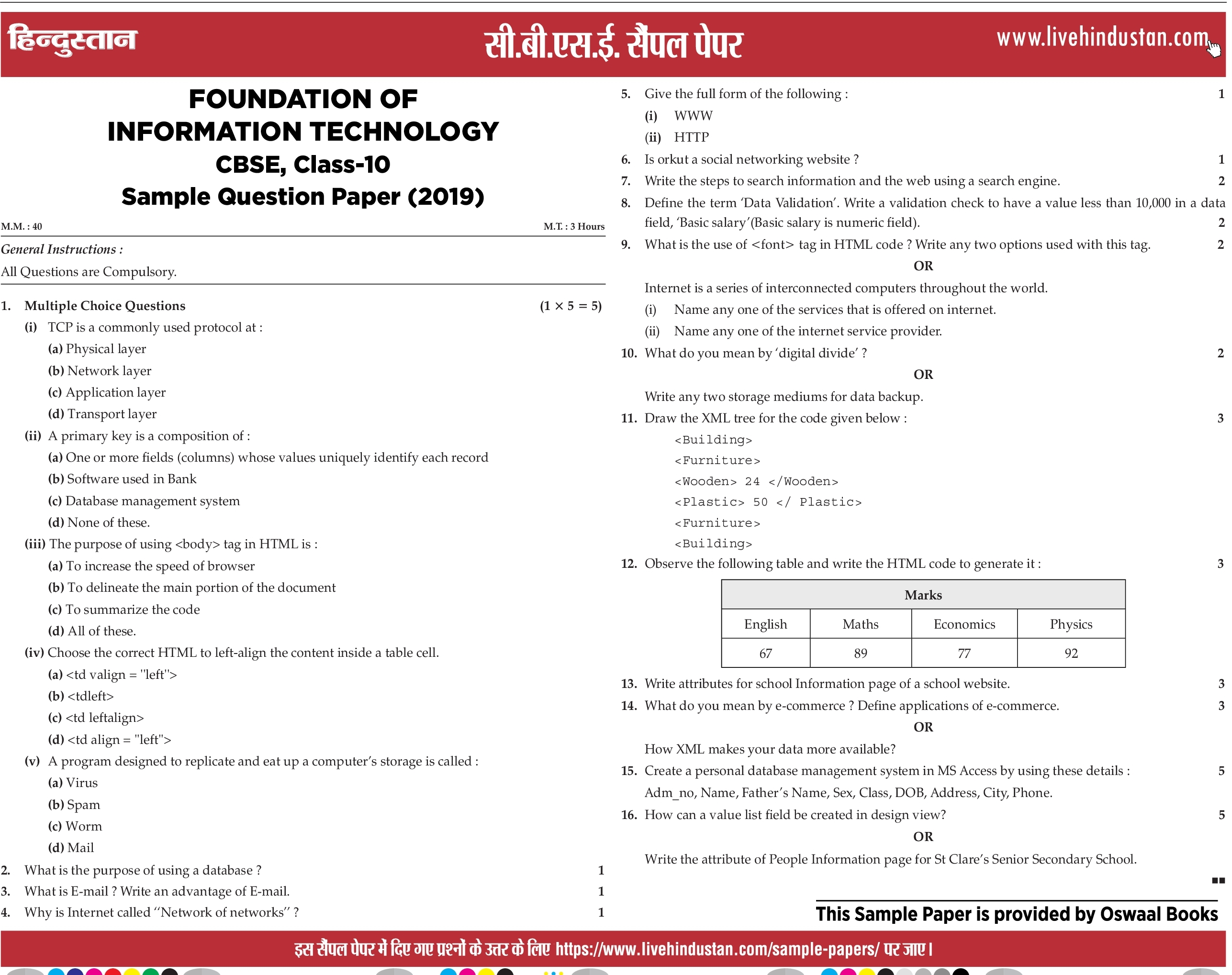 CBSE Board Model Papers 2020 Class 10th 12th Sample Papers Subject