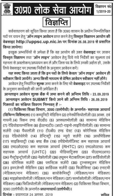 uppsc assistant professor recruitment 2019
