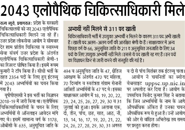 uppsc medical officer result 2019